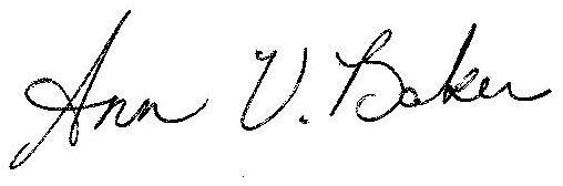 Ann V. Baker signature