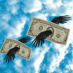 money flying through sky with wings