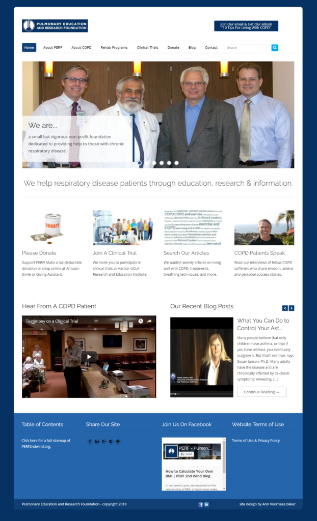 Pulmonary Education and Research Foundation - web design