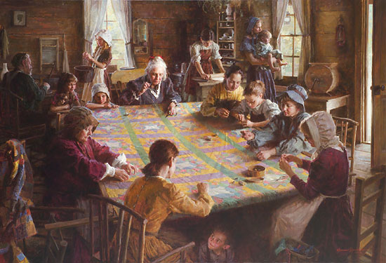 The Quilting Bee- 19th Century Americana by Morgan Weistling