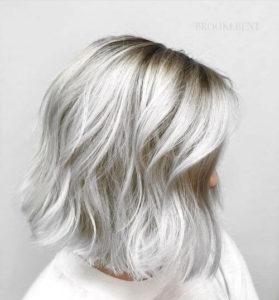 a woman's silver hair
