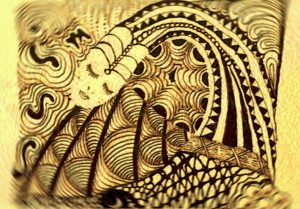 zentangle image with face