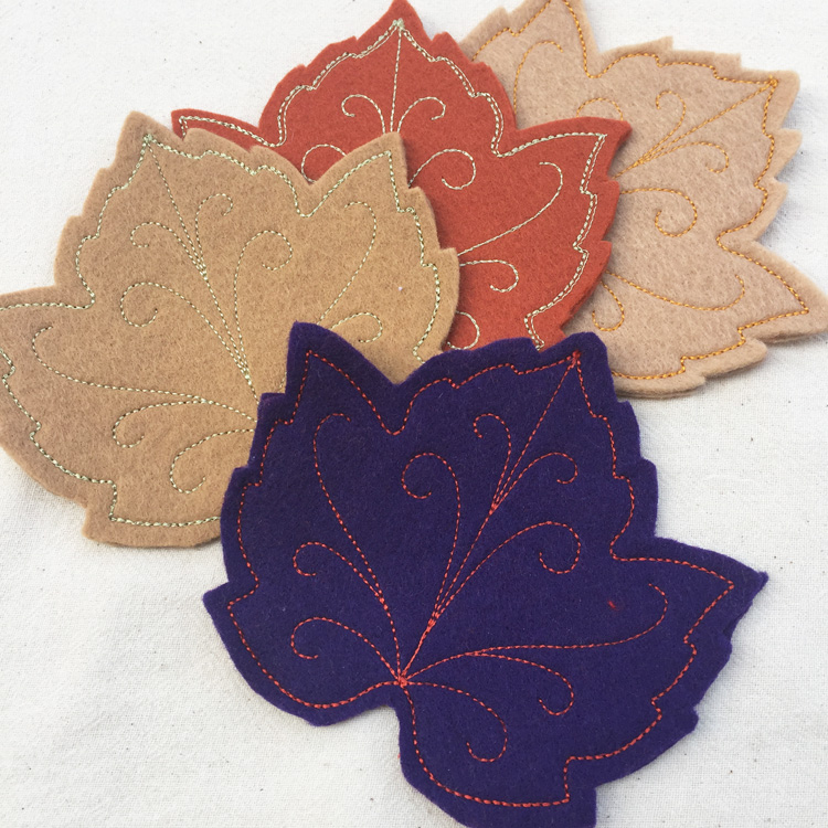 maple leaf felt coasters